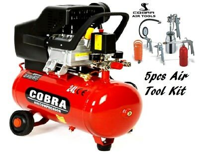 Air Tools 24L Litre Air Compressor 8 Bar Powerful Cobra 5pcs air tool kit