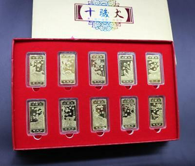 """10pcs Chinese Dog Year Gold Coins """"Lang Shining"""" Hand-painted Gold Coins Pattern"""