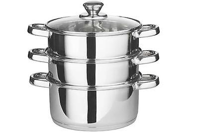 3pc stainless steel food steamer set glass lid steam sauce pans cooking pot pan