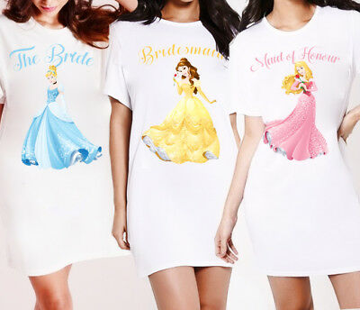 Personalised Princess Nightie Nightshirt - Bridal Pyjamas PJ's Wedding Gowns