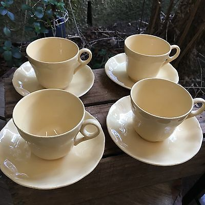 Vintage Petal Ware Grindley Made In England Set Of 4 Cream Tea Cups & Saucers