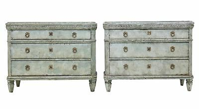 Pair Of Large 19Th Century Swedish Painted Commodes