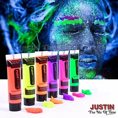 PAINT GLOW in The Dark Neon Luminous Face  Body Halloween Festival Make Up Party