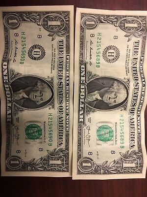 2 $1 Bill Dollar US Misprint Front And Back 2013 offset printing error Double
