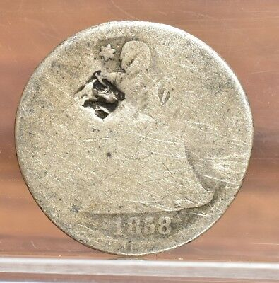 1858 Liberty Seated Dime - Poor Details (#8724)