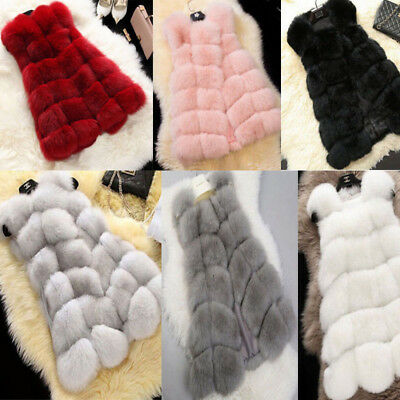 New Women Lady Warm Outwear Sleeveless Vest Fox Fur Winter Waistcoat Jacket Coat