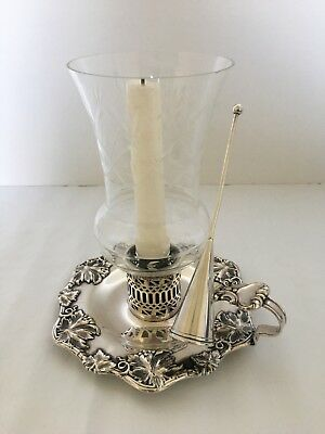 Silver on Copper Chamberstick~Etched Hurricane Shade~Snuffer~Grapevine pattern