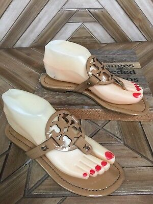 Tory Burch Women's Patent Leather Nude Miller Sandals Size 7.5M  S2763