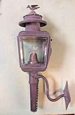 antique brass carriage light with beveled glass