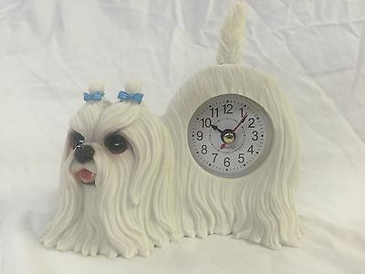 COLUMBUS DAY SALE Critter Clock Maltese Tabletop Wagging Tail Puppy Dog