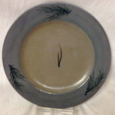 Rowe Pottery Works Salt Glazed Blue & Grey Pine Needles Plate 8 3/4""