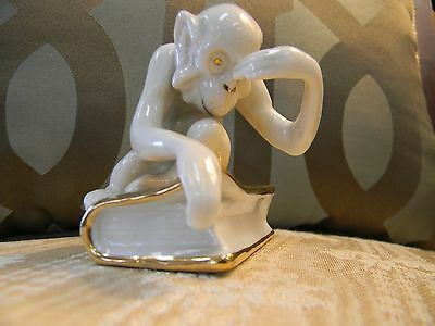 Royal Dux Figurine Of A Monkey On A Book