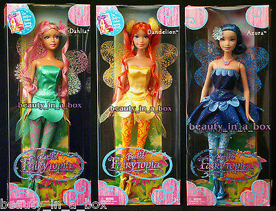 Fairytopia Fairy Dahlia Azura Dandelion Barbie Doll Lot 3