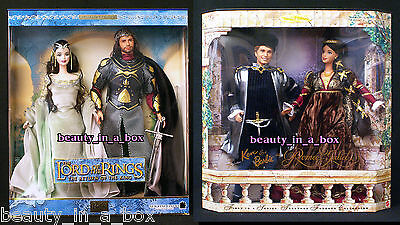 Arwen and Aragorn Barbie Ken Doll Lord of the Rings Romeo Juliet Lot 2 ~ EXC Box