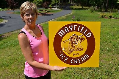 Old Style Mayfield Ice Cream & Milk Jersey Cow Dairy Kitchen Sign Usa Made Mint!