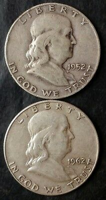 1952 D and 1962 D 50c Franklin Silver Half Dollars