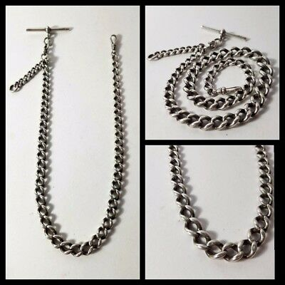 lovely antique solid silver albert pocket watch chain 1901 Kay & Co 54 gram