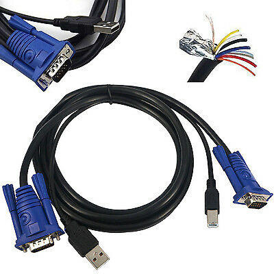 2-in-1 USB 2 PC Monitor 15-Pin Standard VGA SVGA Adapter Cable Cord 4 KVM Switch