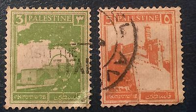 Palestine - used. 1927 5m (red) and 3m (green) - 2 stamps