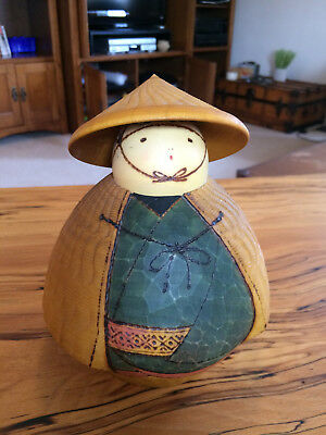 "Vintage Antique Kokeshi Doll Man ""mountain Traveler"" Sansaku Sekiguti"