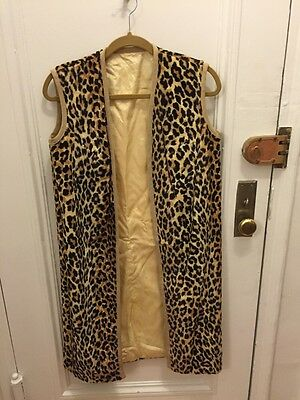 Vintage JEUINQUE Long Faux Leopard Tank Top Vest w/ Yellow Lining 60s - Small S