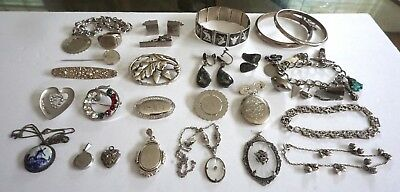 Sterling Silver 925 Vintage 233.2 Gram 26 Piece Mixed Lot A Must See! NO RESERVE