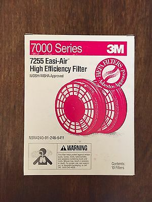 Pack of 2 Filers/1 pair : 3M Easi-AIR FILTERS 7255 - NEW