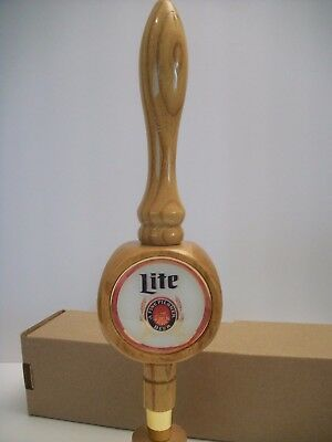 MILLER LITE THROWBACK VINTAGE 3-sided wood beer tap handle RETRO