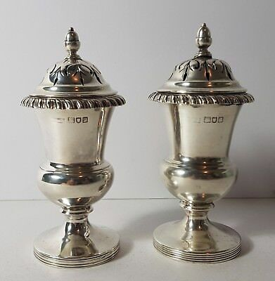 lovely pair of antique solid silver pounce pots 1911 london 123 grams
