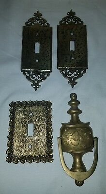 Vintage: Brass 4pc Lot, 3 Light Switch Covers and 1 Door Knocker **LOOK**