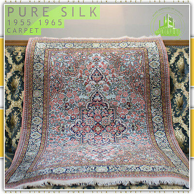 Antique Silky Vintage Mid Century Modern Prayer Carpet Rug Tapis Post Art Deco È