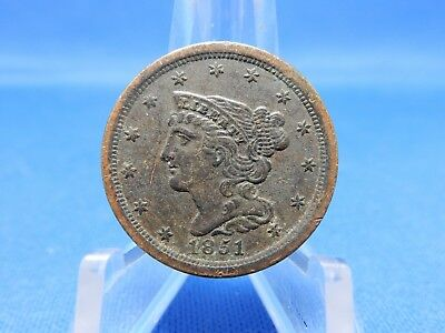 1851 Braided Hair Half Cent - Scratched, Extra Fine