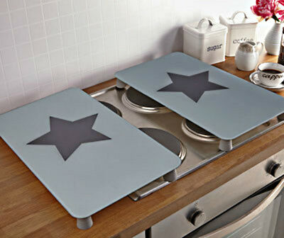 2 Hob Cover Plates Hardened Glass Universal Electric Gas Ceramic Kitchen Cooker