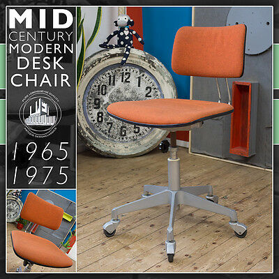 Wonderful Orange Bureau Chair Mid Century Modern  Stuhl Vintage Wegner Panton Èr
