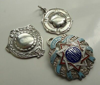 Lot Vintage Solid Sterling Silver Fob Medal Pendants Primo Enamel And Hill Cup