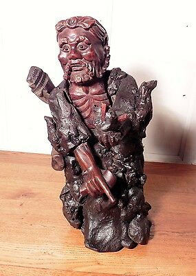 Large Oriental Root Carving of a Bearded Old Man