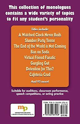 103 Monologues for Middle School Actors by Rebecca Young New Paperback Book