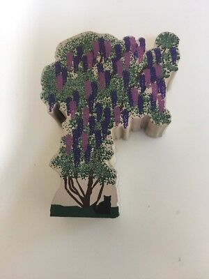 Cat's Meow Wisteria, Tree, Flowers #304, Wood Block Collectible