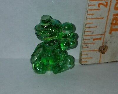 "MOSSER GLASS 1-5/8""h PEE WEE THE BALLOON CLOWN green carnival ""K"" on back"