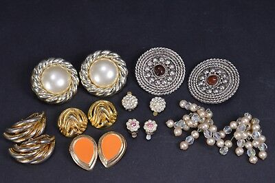 Job Lot of 8x Pairs of Retro & Vintage Clip On Earrings Clips