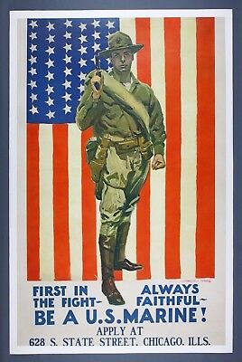 "Original WWI Recruiting Poster ""BE A U.S. MARINE!"" James Montgomery Flagg, 1918"