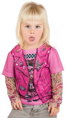 Childrens kids girls Faux Real biker motorcycle Harley tattoo longsleeve t-shirt