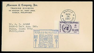 PHILIPPINEN FDC 1947 UNO UN UNITED NATIONS RARE!! cf71