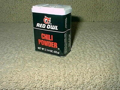 Vintage Red Owl Grocery Food Store Chili Powder Spice Tin Full Not Used