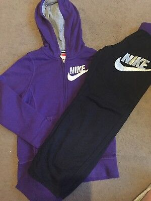 Girls Nike Tracksuit Top M 7-8 Bottoms L 9-10