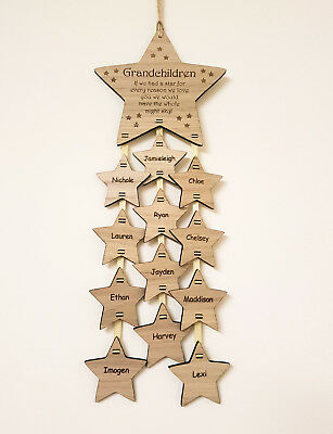Personalised Mothers Day Gift Mum Grandchildren Name Star Plaque Wooden Oak