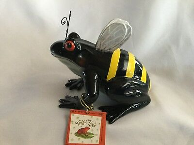 Fanciful Frogs Bee Hoppy ceramic figurine with tag bumble bee stripes and wings