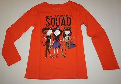 New TCP Girls The Childrens Place Halloween Happy Squad Orange Top 5 6 Yr NWT