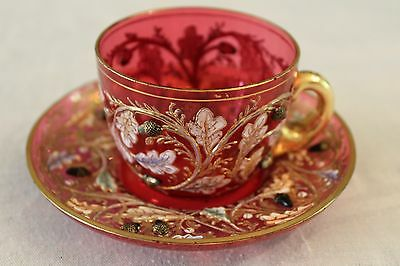 Antique Rare 2Nd Moser Cup And Saucer 19Th Century