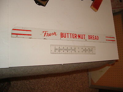 vinatge red & white fresh butter-nut bread door push or display top enamel sign